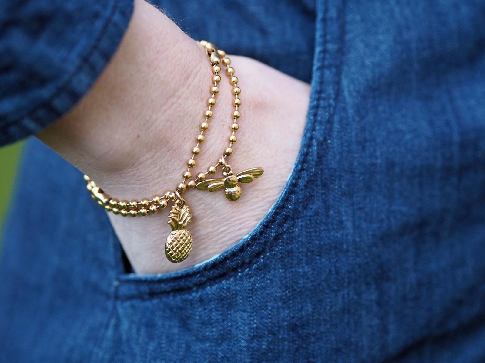 Danon gold pineapple bracelet, gold honey bee bracelet