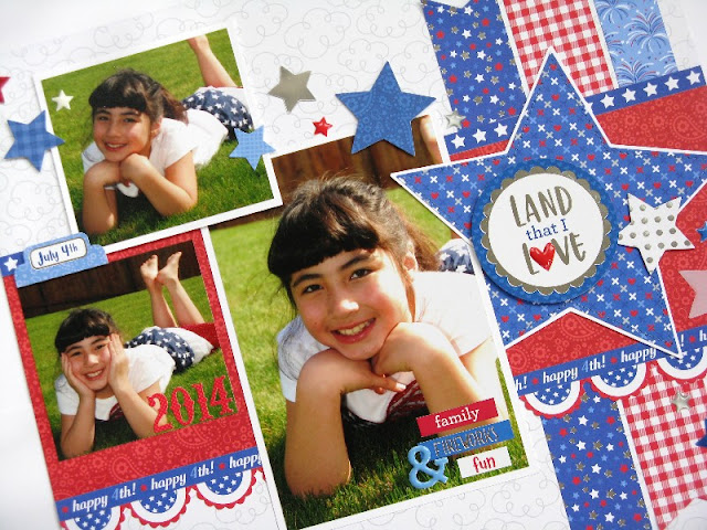 Doodlebug Design Yankee Doodle Fourth of July Scrapbook Layout by Mendi Yoshikawa