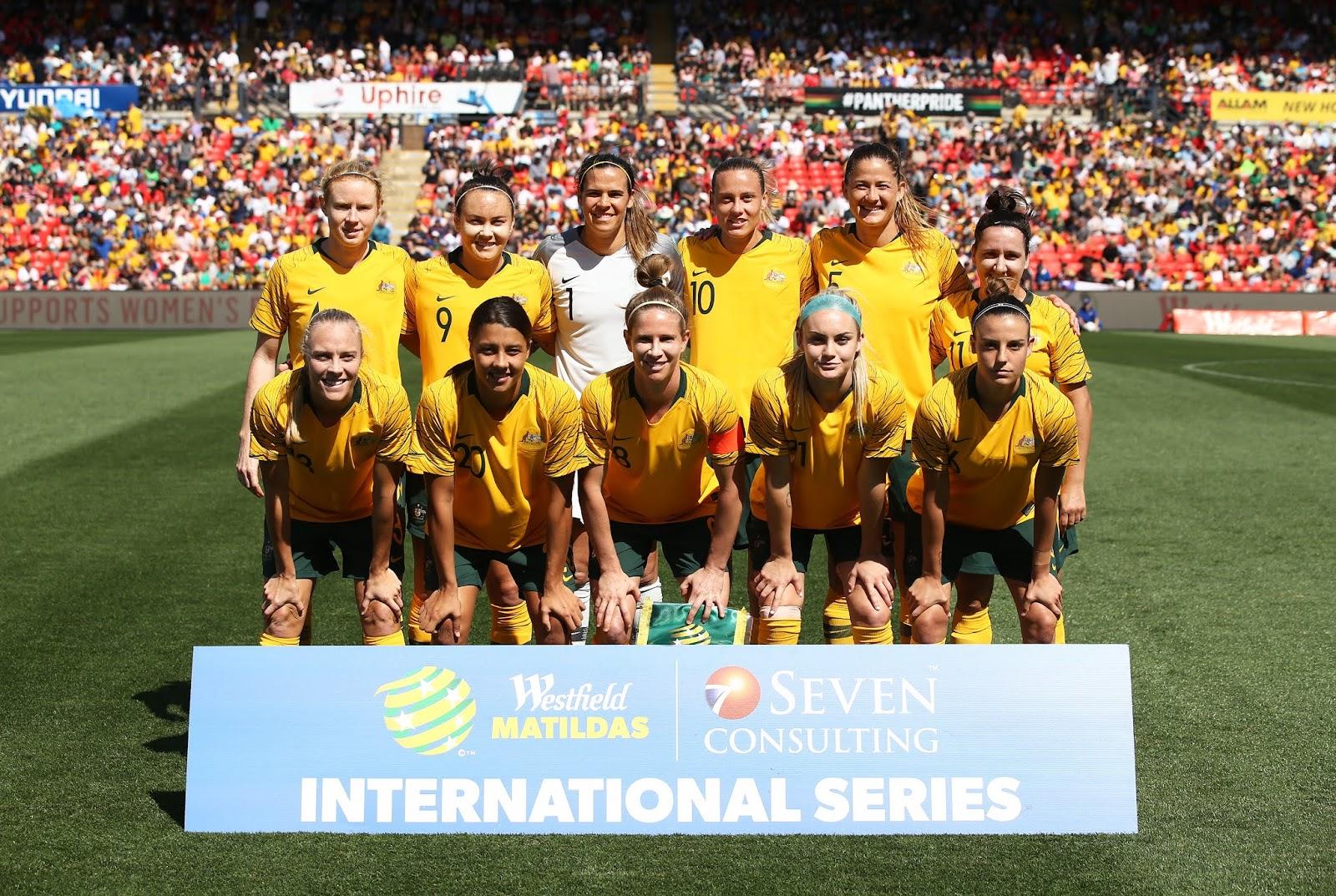 Formación de selección femenina de Australia ante Chile, amistoso disputado el 10 de noviembre de 2018