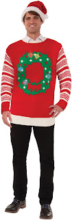 Light Up Christmas Wreath Adult Sweater