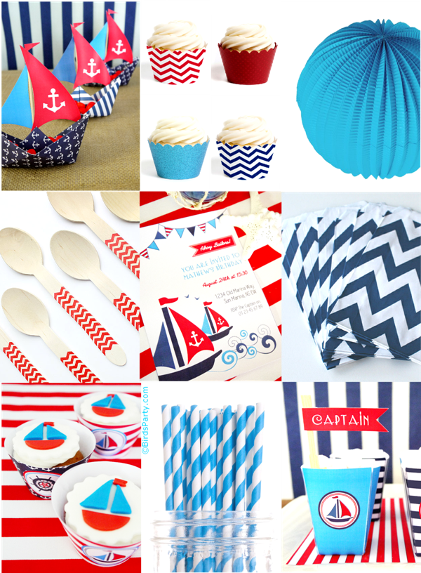 Inspiration de Fete Nautique Rouge, Bleu Marine et Blanc | BirdsParty.fr