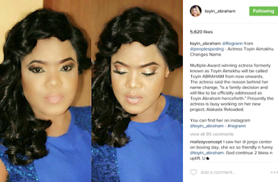 Nollywood Actress Toyin Aimakhu officially announce a change in her name