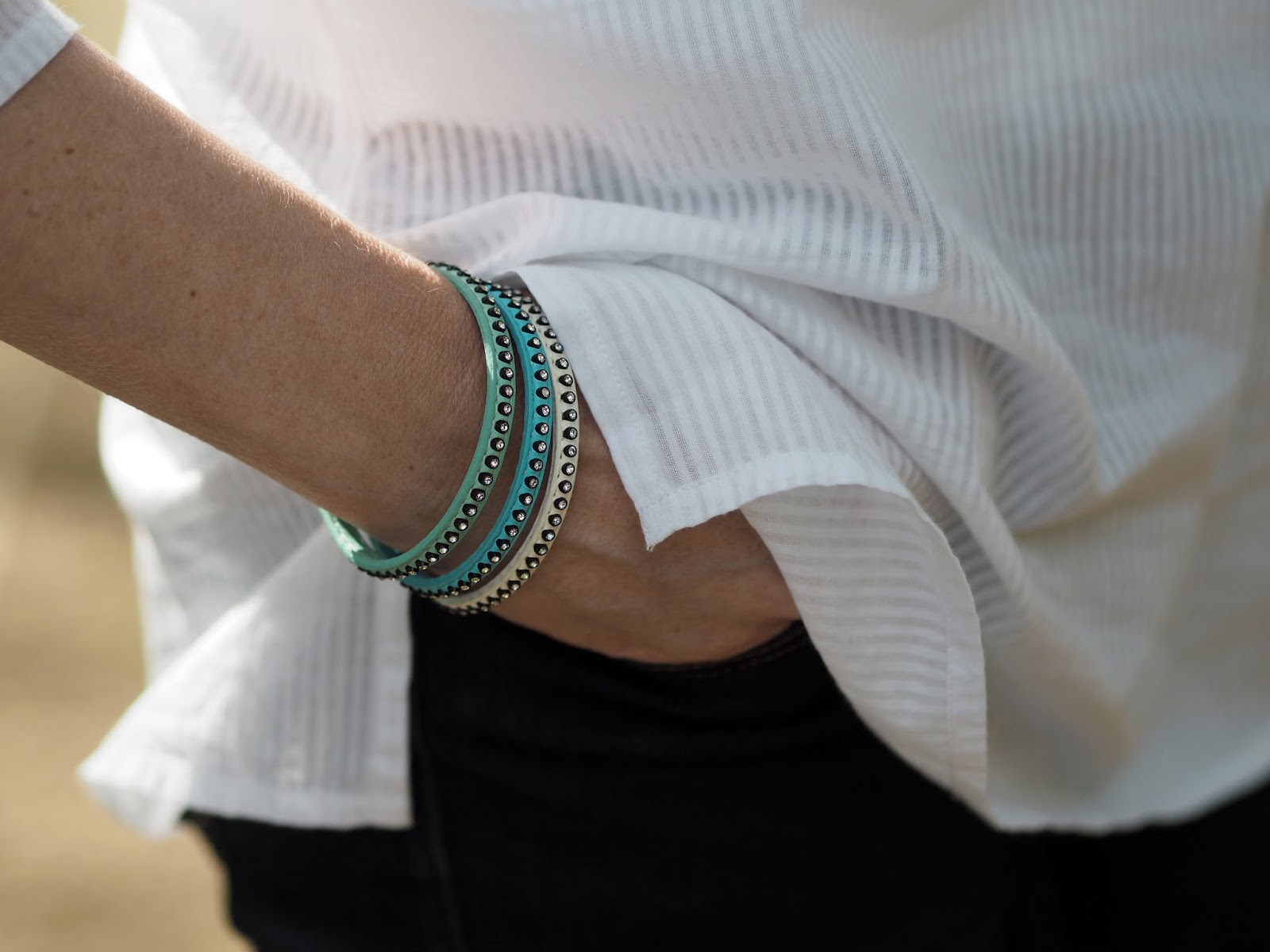 Crystal sparkly wrap bracelets, blue and white