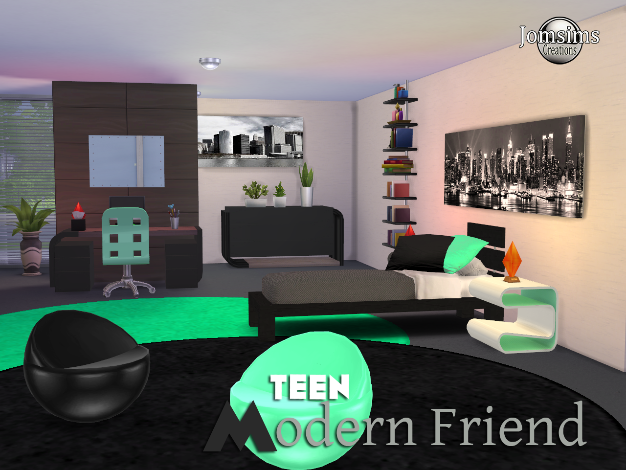My Sims 4 Blog Modern Friend Teen Bedroom Set By Jomsims
