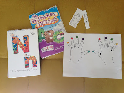 Preschool Learning with Amazing Action Alphabet book Review letters and sounds with nail polish activity and game
