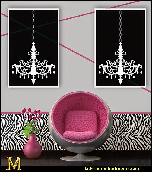 Zebra  Wallpaper - chandelier decals - zebra print home decorating ideas - zebra decor zebra bedding zebra mural