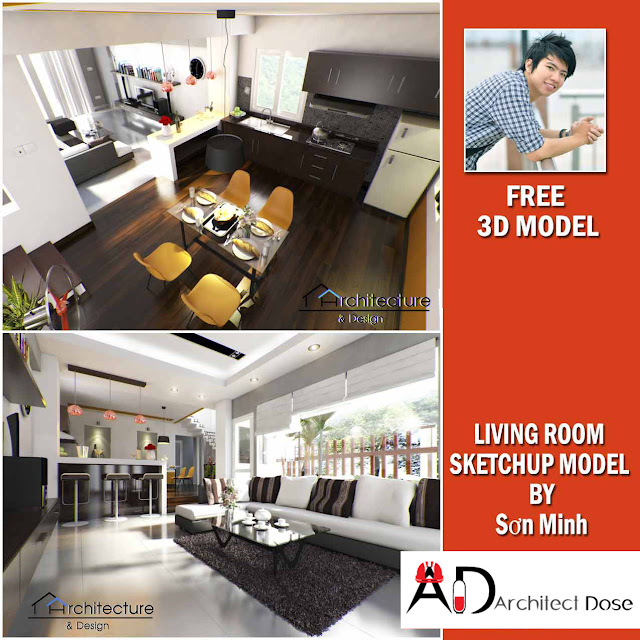 SKETCHUP FREE MODEL LIVING ROOM V-RAY SETTING