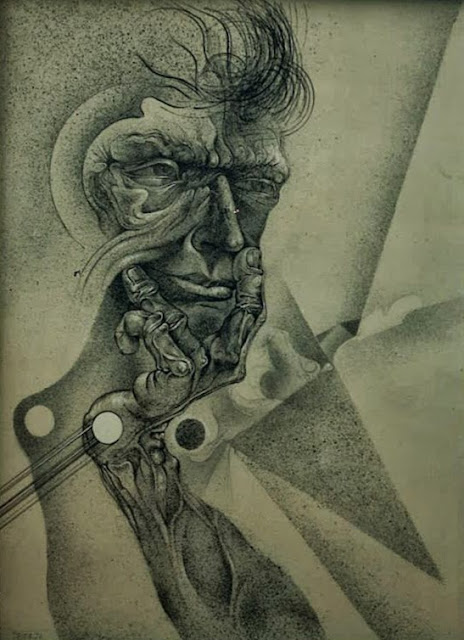 Dibujo retrato surrealista pintor catalán modernista Joan Rifà