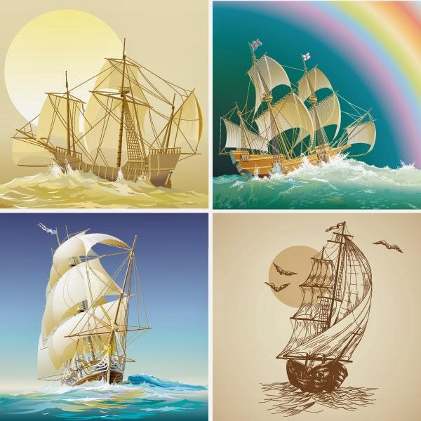 Barcos antiguos - Vector
