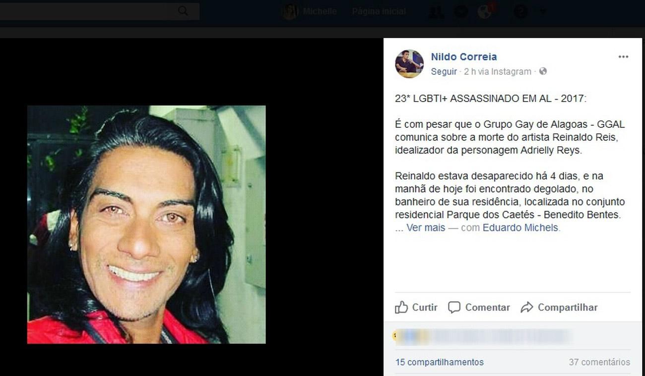 Artista encontrado morto é a 23ª morte de uma pessoa LGBT em Alagoas