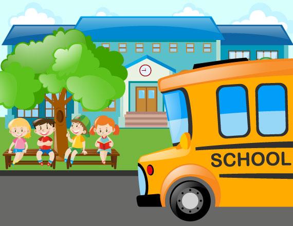 Chicos esperando el autobús escolar