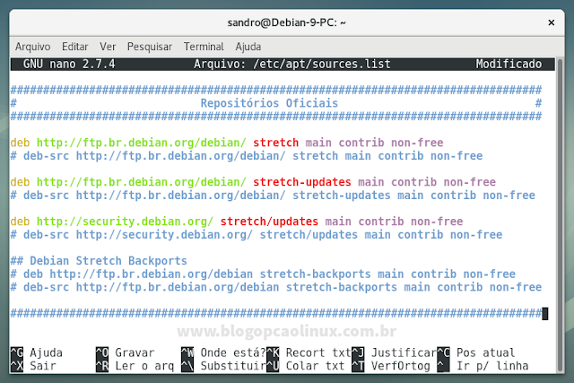 Configurando uma nova sources.list no Debian 9 'Stretch'