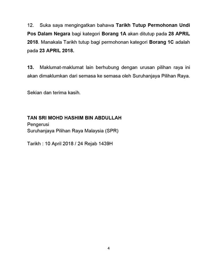tarikh mengundi PRU14 4
