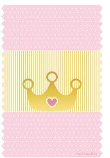 Etiquetas para Imprimir Gratis de Corona Dorada con Rosa.