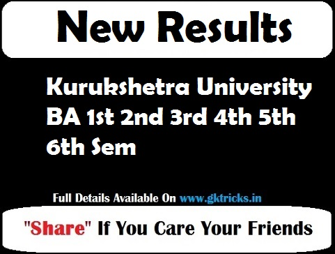 Kurukshetra University BA 1st 2nd 3rd 4th 5th 6th Sem