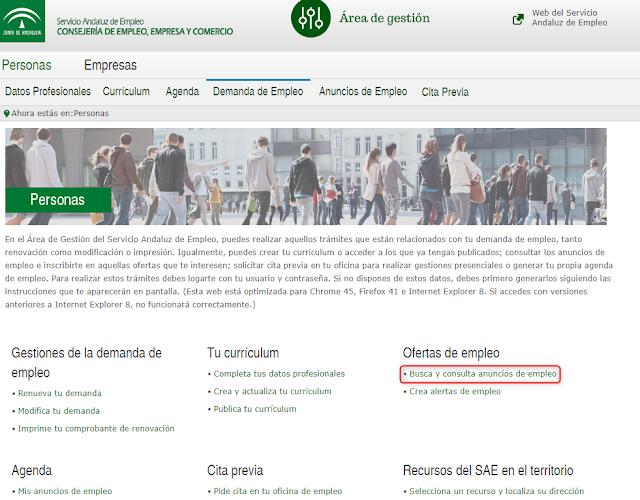 El caj n de la orientaci n gu a para la inscripci n online a ofertas de empleo difundidas por - Oficina del servicio andaluz de empleo ...