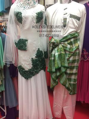 Baju Pengantin dan Nikah  Songket Moden Putih