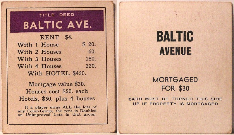 Gc7abmh Cabot Monopoly Series 20 Baltic Avenue Traditional Cache