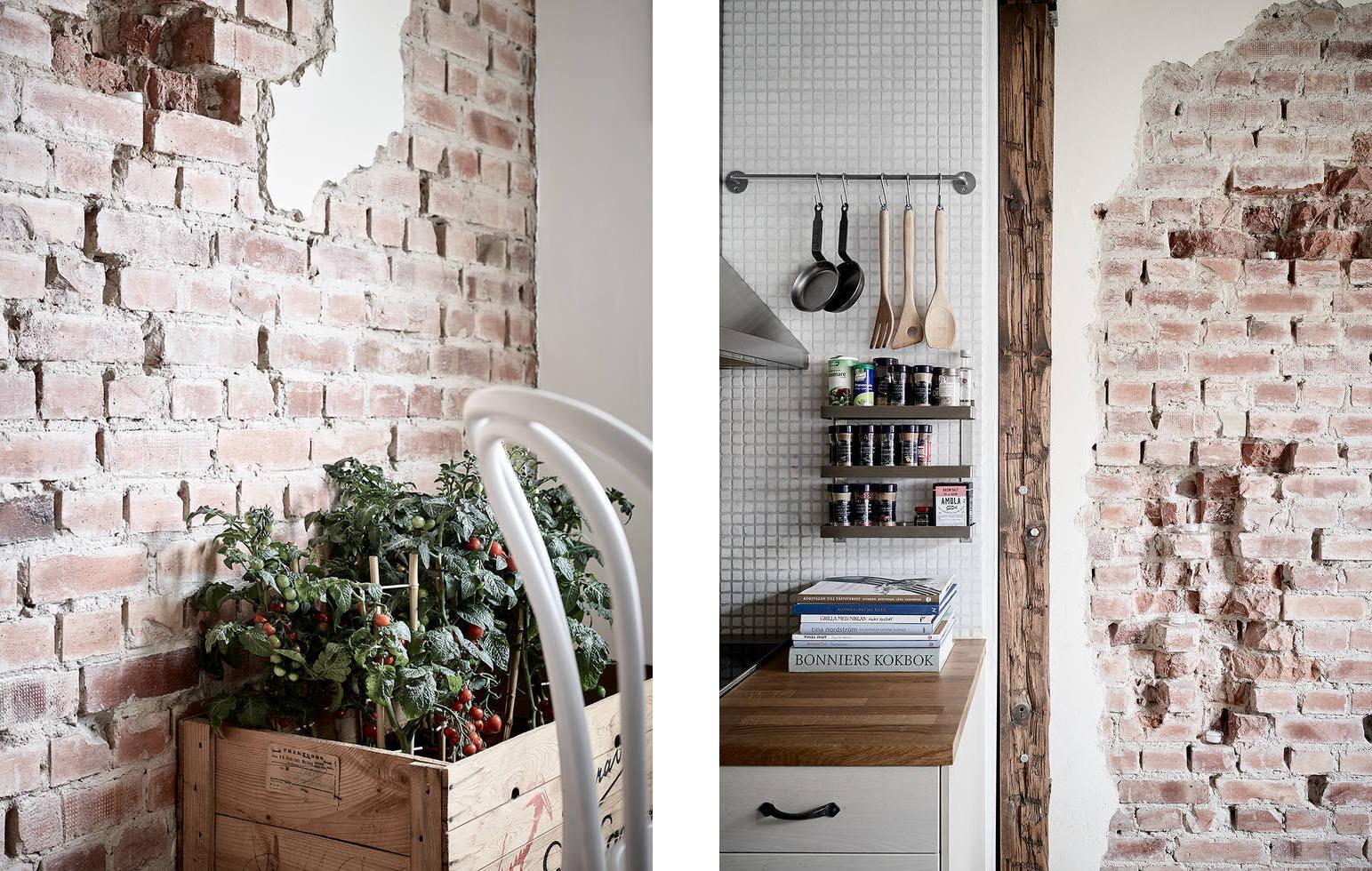 Cucina con mattoni a vista e dettagli architettonici - Archi mattoni vista in cucina ...