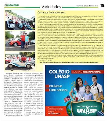 Jornal da Cidade de Holambra, edição 1095, página 15.