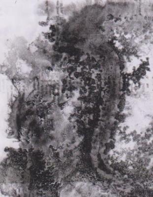Gambar Teknik Sketsa Murni kombinasi tinta Oi, air  dan garam di atas kertas.