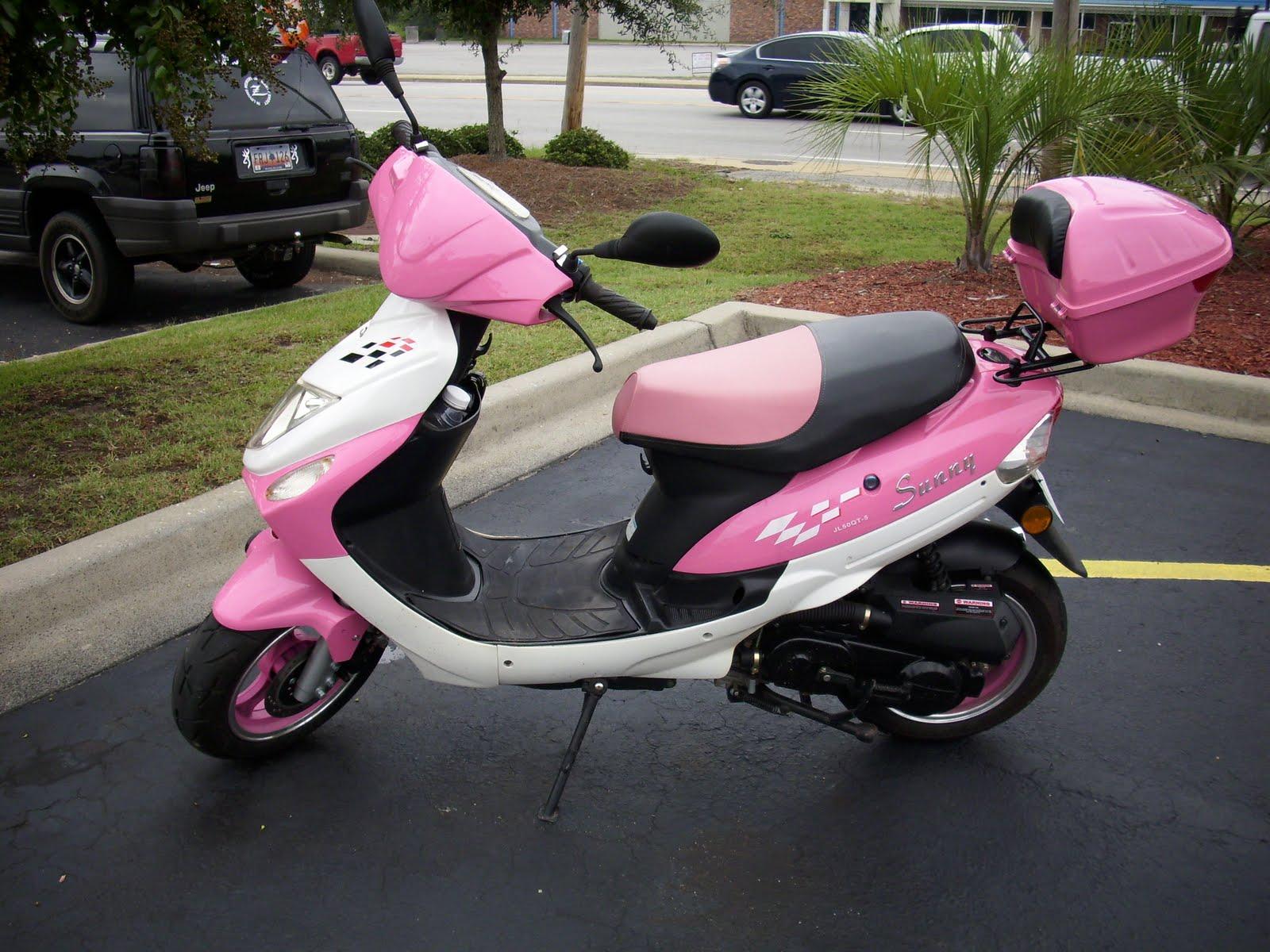 Heyward and Rena Maes Daughter: Pink moped