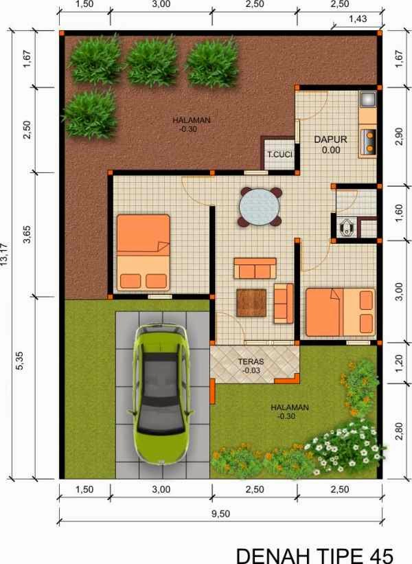 Contoh denah rumah minimalis type 45 1 lantai