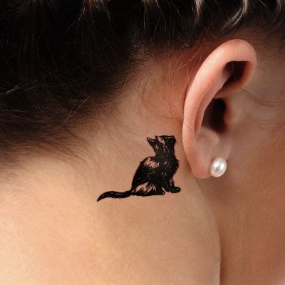 Cat Tattoos Behind Ear For Girls