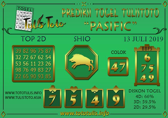 Prediksi Togel PASIFIC TULISTOTO 13 JULI 2019