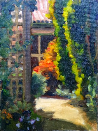 Oil painting of a garden path with lattice work on the left and a house with large windows in the background.