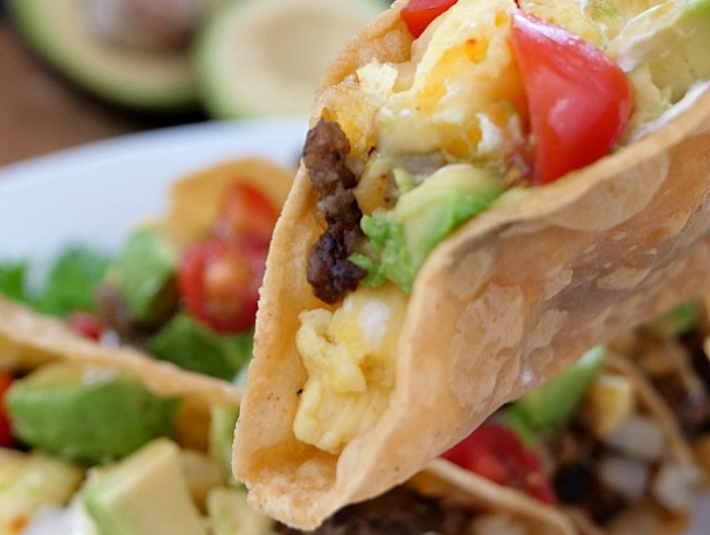 Cheesy Sausage Egg Breakfast Tacos