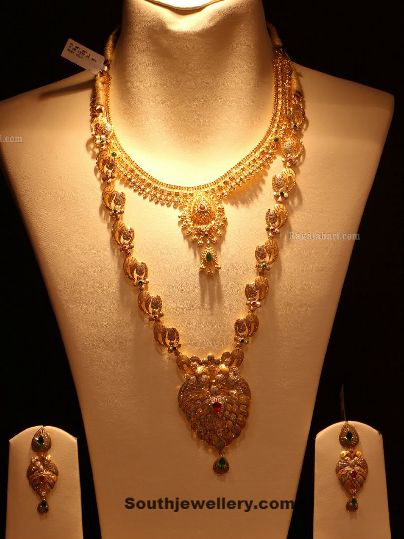 Gold Long Chain with Diamond Pendnat - Jewellery Designs
