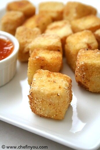 Crispy Tofu : Kind of similar to the texture of McDonald's chicken nuggets. This was a definite WIN for our family! Everyone had seconds and the kids wanted more after that! We dipped them in regular ketchup