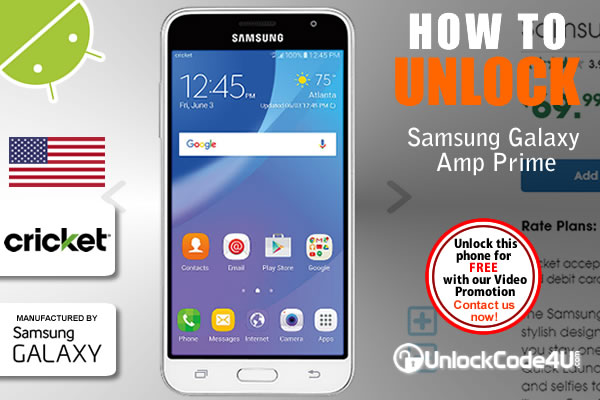 Factory Unlock Code Samsung Galaxy Amp Prime from Cricket Wireless