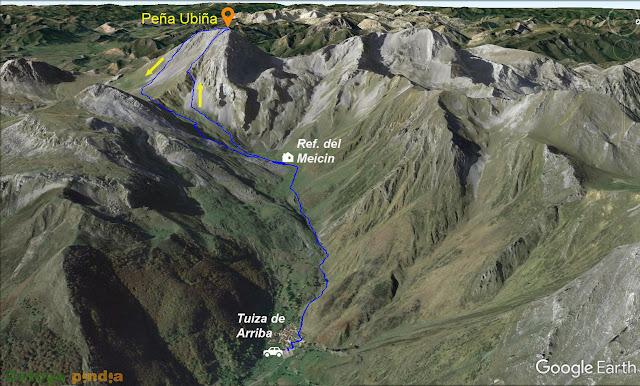 Map 3D de la ruta a Peña Ubiña con nieve