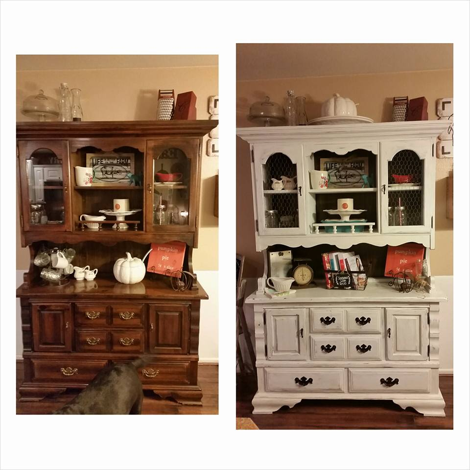 DIY Chalk Painted Farmhouse Hutch