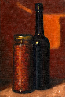 Oil painting of a jar of chillies beside a blue castor oil bottle.
