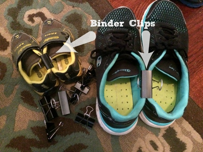 Binder clips to organize shoes.