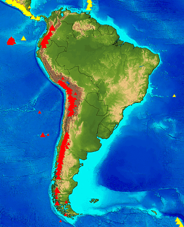 February South Map Showing Active Similiar Cotopaxi Volcano