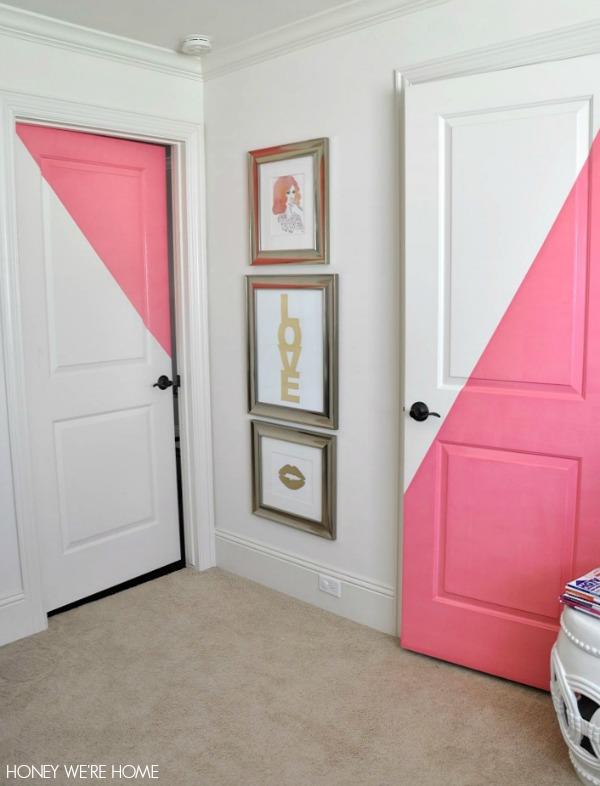 Diagonal Painted Office Doors | Honey We're Home | Bloglovin