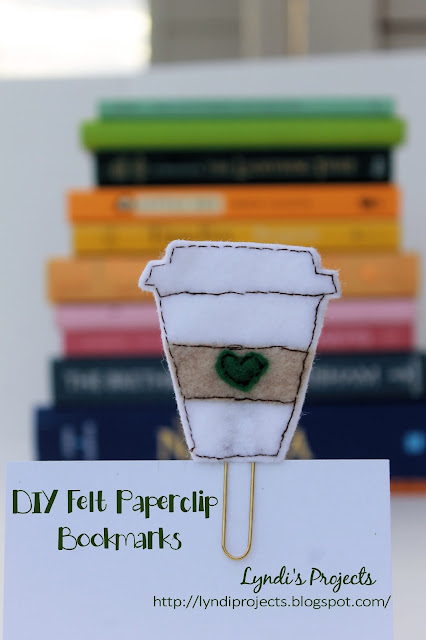 Starbucks coffee cup from felt, DIY bookmark, gold paperclip
