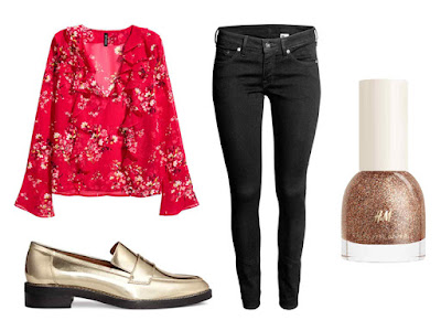 Chinese New Year Style Outfits H&M Frilled Blouse | Super Skinny Low Jeans | Nail Polish in shade Bijoux | Leather loafers