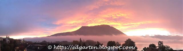 traumhafter Sonnenaufgang hinter der Rigi