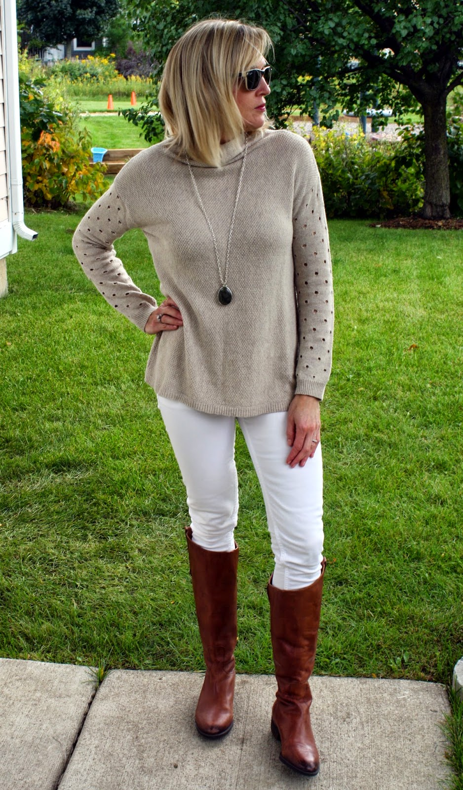 9688816f31f406 ... riding boots with my white skinny jeans for a fall transition outfit. I  think you can wear white after Labor day as long as you stay away from a  summery ...