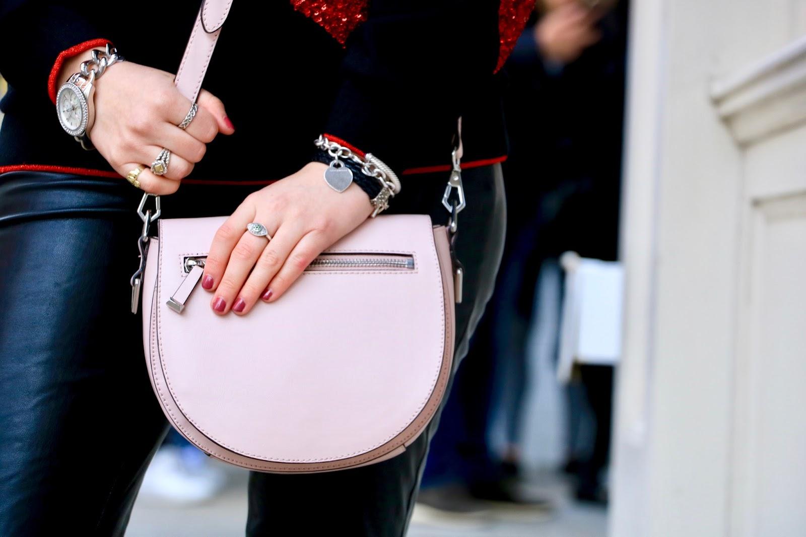 Nyc fashion blogger Kathleen Harper wearing a pink Rebecca Minkoff purse