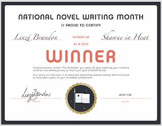 Linzé Brandon, NaNoWriMo winner certificate, 2016