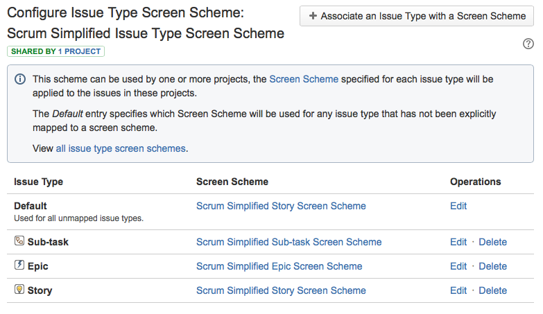 How your Scrum Simplified Issue Type Screen Scheme should look
