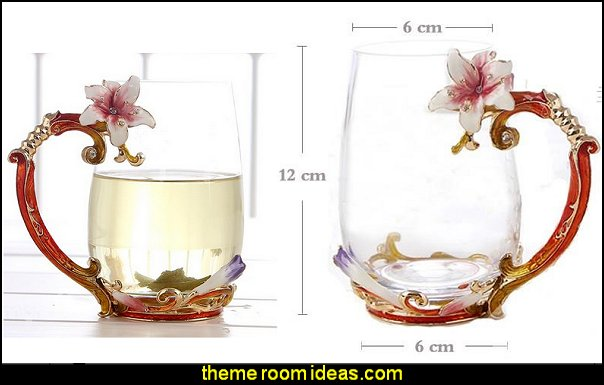 Gorgeous Lily Design Handle Crystal Glass Coffee Cup