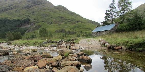 The route to this bothy passes under the Glenfinnan Viaduct made famous in the ''Harry Potter'' movies