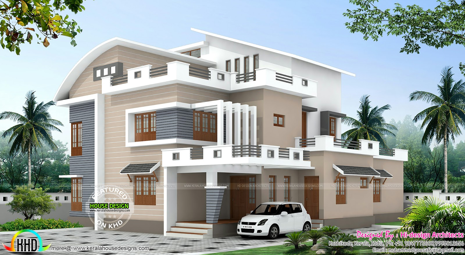 4 bedroom modern mix house plan kerala home design and for Modern 4 bedroom house floor plans